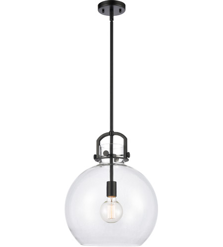 Innovations Lighting 410-1S-BK-14CL-LED Newton LED 14 inch Matte Black Mini Pendant Ceiling Light, Restoration photo