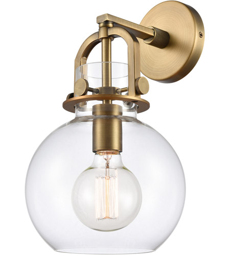 Innovations Lighting 410-1W-BB-8CL Newton 1 Light 8 inch Brushed Brass Sconce Wall Light, Restoration photo