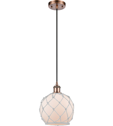 Innovations Lighting 516-1P-AC-G121-8RW Farmhouse Rope 1 Light 8 inch Antique Copper Mini Pendant Ceiling Light, Ballston photo thumbnail
