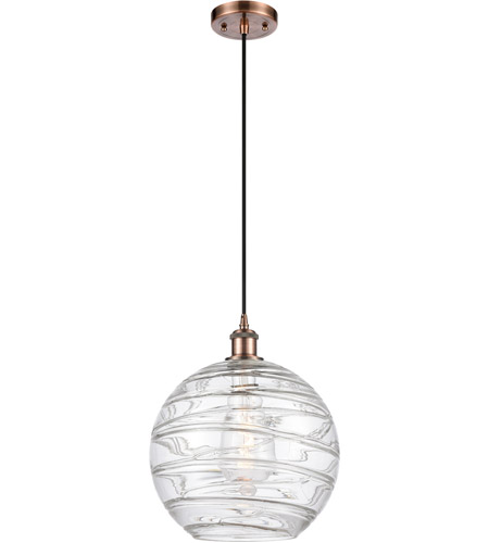 Innovations Lighting 516-1P-AC-G1213-12 X-Large Deco Swirl 1 Light 12 inch Antique Copper Mini Pendant Ceiling Light, Ballston photo thumbnail