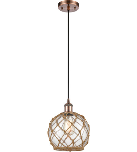 Innovations Lighting 516-1P-AC-G122-8RB-LED Farmhouse Rope LED 8 inch Antique Copper Mini Pendant Ceiling Light, Ballston photo thumbnail
