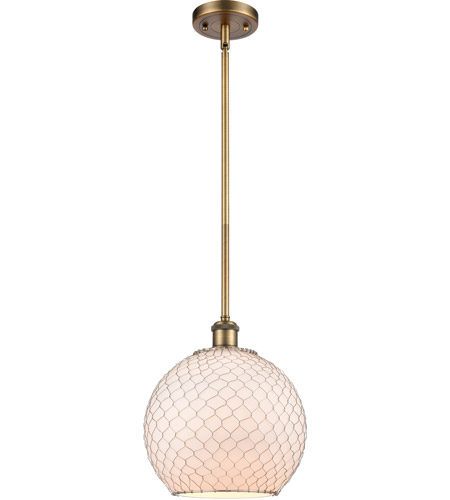 Innovations Lighting 516-1S-BB-G121-10CSN-LED Large Farmhouse Chicken Wire LED 10 inch Brushed Brass Pendant Ceiling Light, Ballston photo thumbnail