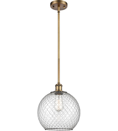 Innovations Lighting 516-1S-BB-G122-10CBK-LED Large Farmhouse Chicken Wire LED 10 inch Brushed Brass Pendant Ceiling Light, Ballston photo thumbnail