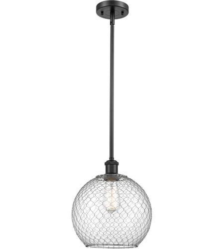 Innovations Lighting 516-1S-BK-G122-10CSN-LED Large Farmhouse Chicken Wire LED 10 inch Matte Black Pendant Ceiling Light, Ballston photo thumbnail