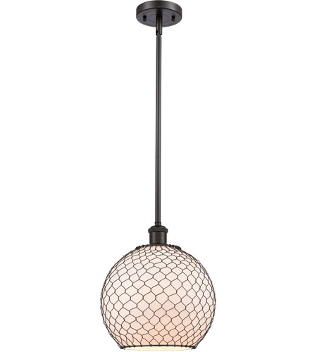 Innovations Lighting 516-1S-OB-G121-10CBK-LED Large Farmhouse Chicken Wire LED 10 inch Oil Rubbed Bronze Pendant Ceiling Light, Ballston photo