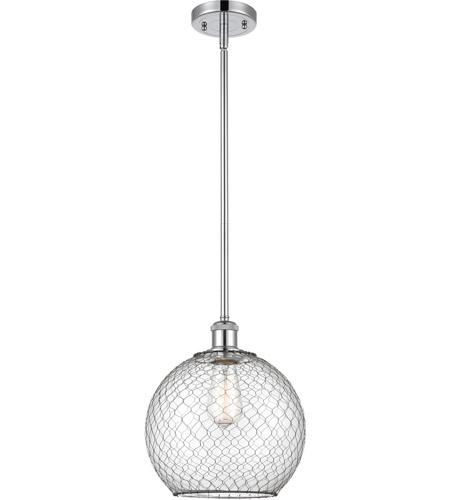 Innovations Lighting 516-1S-PC-G122-10CBK-LED Large Farmhouse Chicken Wire LED 10 inch Polished Chrome Pendant Ceiling Light, Ballston photo thumbnail