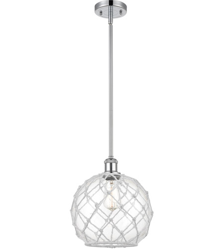 Innovations Lighting 516-1S-PC-G122-10RW-LED Large Farmhouse Rope LED 10 inch Polished Chrome Pendant Ceiling Light, Ballston photo thumbnail