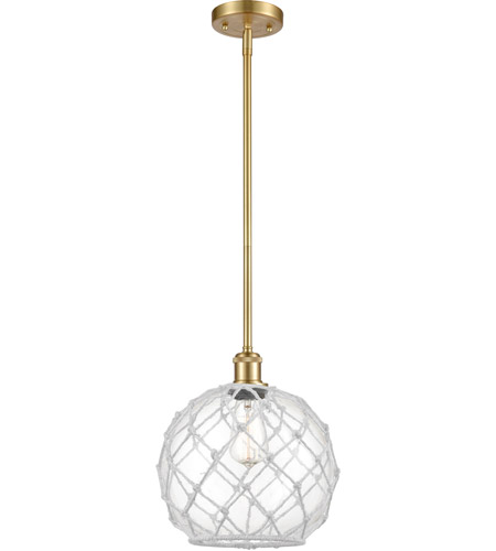 Innovations Lighting 516-1S-SG-G122-10RW-LED Large Farmhouse Rope LED 10 inch Satin Gold Pendant Ceiling Light, Ballston photo thumbnail