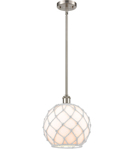 Innovations Lighting 516-1S-SN-G121-10RW Large Farmhouse Rope 1 Light 10 inch Brushed Satin Nickel Pendant Ceiling Light, Ballston photo thumbnail