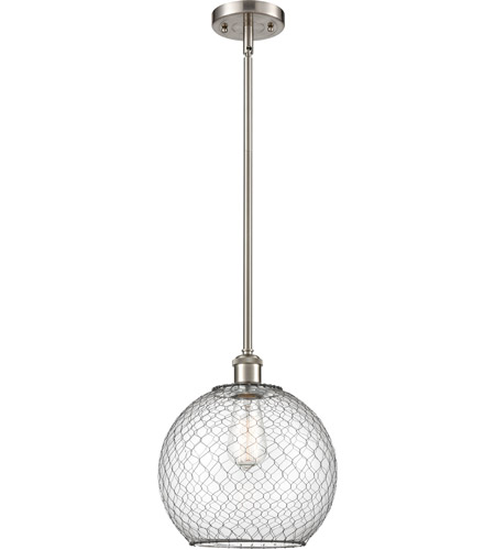 Innovations Lighting 516-1S-SN-G122-10CBK Large Farmhouse Chicken Wire 1 Light 10 inch Brushed Satin Nickel Pendant Ceiling Light, Ballston photo thumbnail