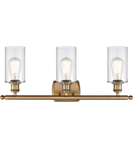 Innovations Lighting 516-3W-BB-G802 Clymer 3 Light 26 inch Brushed Brass Bath Vanity Light Wall Light, Ballston alternative photo thumbnail