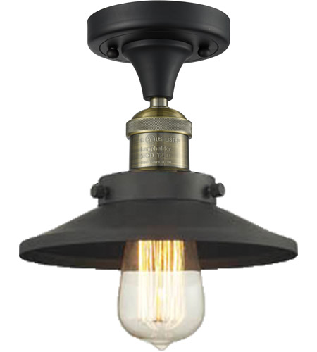 Innovations Lighting 517-1CH-BAB-M6-LED Railroad LED 7 inch Black Antique Brass Semi-Flush Mount Ceiling Light, Franklin Restoration photo