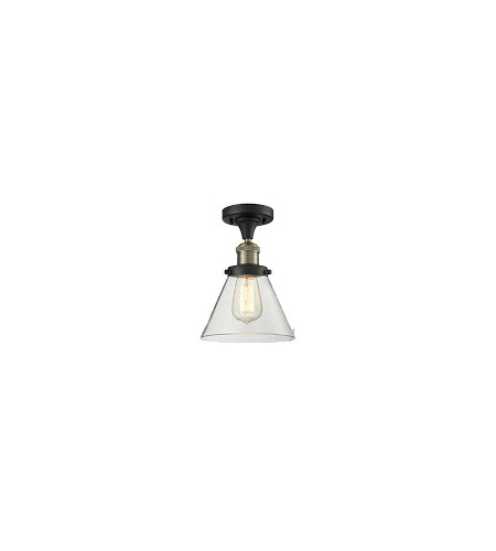 Innovations Lighting 517-1CH-BBB-G42 Signature 1 Light 8 inch Black and Brushed Brass Semi-Flush Mount Ceiling Light, Large, Cone photo