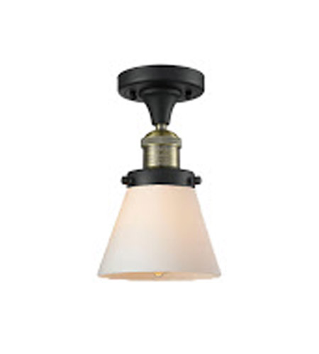 Innovations Lighting 517-1CH-BBB-G61 Signature 1 Light 7 inch Black and Brushed Brass Semi-Flush Mount Ceiling Light, Small, Cone photo
