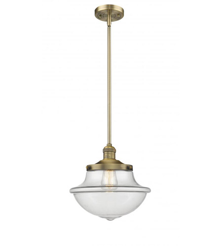 Innovations Lighting 542-BB-CL Pendleton School House 1 Light 12 inch Brushed Brass Pendant Ceiling Light, Franklin Restoration photo