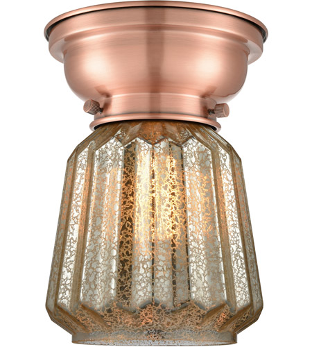 Innovations Lighting 623-1F-AC-G146 Aditi Chatham 1 Light 6 inch Antique Copper Flush Mount Ceiling Light in Mercury Glass, Aditi photo