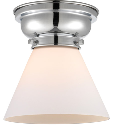 Innovations Lighting 623-1F-PC-G41 Aditi Large Cone 1 Light 8 inch Polished Chrome Flush Mount Ceiling Light in Matte White Glass, Aditi photo