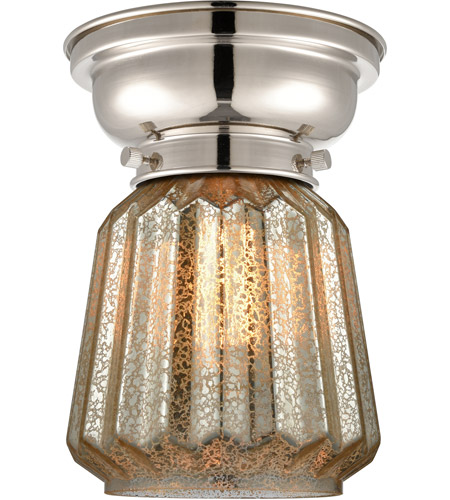 Innovations Lighting 623-1F-PN-G146-LED Aditi Chatham LED 6 inch Polished Nickel Flush Mount Ceiling Light in Mercury Glass, Aditi photo