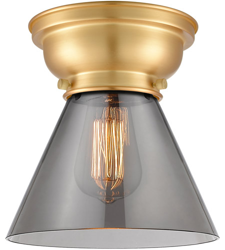 Innovations Lighting 623-1F-SG-G43-LED Aditi Large Cone LED 8 inch Satin Gold Flush Mount Ceiling Light in Plated Smoke Glass, Aditi photo