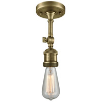 Innovations Lighting 200F-AB Bare Bulb 1 Light 5 inch Antique Brass Semi-Flush Mount Ceiling Light