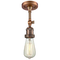 Innovations Lighting 200NH-F-AC-LED Bare Bulb LED 5 inch Antique Copper Semi-Flush Mount Ceiling Light, Franklin Restoration