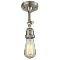 Innovations Lighting 200NH-F-SN-LED Bare Bulb LED 5 inch Brushed Satin Nickel Semi-Flush Mount Ceiling Light