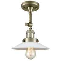 Innovations Lighting 201F-AB-G1-LED Halophane LED 9 inch Antique Brass Semi-Flush Mount Ceiling Light Franklin Restoration