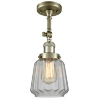 Innovations Lighting 201F-AB-G142-LED Chatham LED 6 inch Antique Brass Semi-Flush Mount Ceiling Light