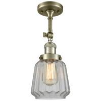 Innovations Lighting 201F-AB-G142-LED Chatham LED 6 inch Antique Brass Semi-Flush Mount Ceiling Light