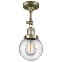 Innovations Lighting 201F-AB-G204-6-LED Beacon LED 6 inch Antique Brass Semi-Flush Mount Ceiling Light