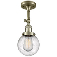 Innovations Lighting 201F-AB-G204-6 Beacon 1 Light 6 inch Antique Brass Semi-Flush Mount Ceiling Light