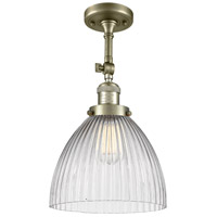 Innovations Lighting 201F-AB-G222-LED Seneca Falls LED 10 inch Antique Brass Semi-Flush Mount Ceiling Light Franklin Restoration