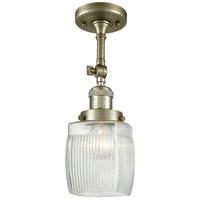Innovations Lighting 201F-AB-G302-LED Colton LED 6 inch Antique Brass Semi-Flush Mount Ceiling Light