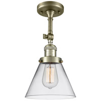 Innovations Lighting 201F-AB-G42 Large Cone 1 Light 8 inch Antique Brass Semi-Flush Mount Ceiling Light