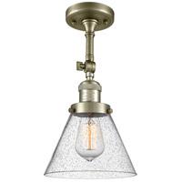 Innovations Lighting 201F-AB-G44-LED Large Cone LED 8 inch Antique Brass Semi-Flush Mount Ceiling Light