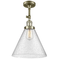 Innovations Lighting 201F-AB-G44-L-LED X-Large Cone LED 12 inch Antique Brass Semi-Flush Mount Ceiling Light Franklin Restoration