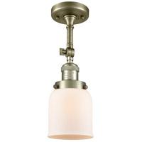 Innovations Lighting 201F-AB-G51-LED Small Bell LED 5 inch Antique Brass Semi-Flush Mount Ceiling Light