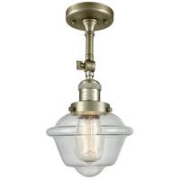 Innovations Lighting 201F-AB-G534-LED Small Oxford LED 8 inch Antique Brass Semi-Flush Mount Ceiling Light
