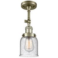 Innovations Lighting 201F-AB-G54-LED Small Bell LED 5 inch Antique Brass Semi-Flush Mount Ceiling Light