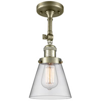 Innovations Lighting 201F-AB-G62-LED Small Cone LED 6 inch Antique Brass Semi-Flush Mount Ceiling Light