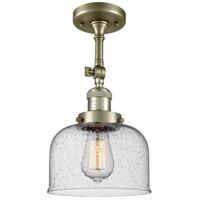 Innovations Lighting 201F-AB-G74-LED Large Bell LED 8 inch Antique Brass Semi-Flush Mount Ceiling Light