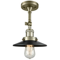 Innovations Lighting 201F-AB-M6-LED Railroad LED 8 inch Antique Brass Semi-Flush Mount Ceiling Light, Franklin Restoration
