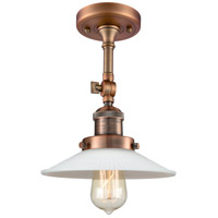 Innovations Lighting 201F-AC-G1-LED Halophane LED 9 inch Antique Copper Semi-Flush Mount Ceiling Light Franklin Restoration