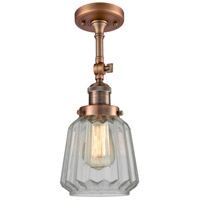 Innovations Lighting 201F-AC-G142-LED Chatham LED 6 inch Antique Copper Semi-Flush Mount Ceiling Light