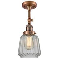 Innovations Lighting 201F-AC-G142-LED Chatham LED 6 inch Antique Copper Semi-Flush Mount Ceiling Light Franklin Restoration
