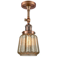 Innovations Lighting 201F-AC-G146-LED Chatham LED 6 inch Antique Copper Semi-Flush Mount Ceiling Light, Franklin Restoration