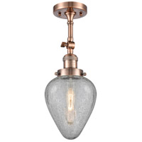 Innovations Lighting 201F-AC-G165-LED Geneseo LED 7 inch Antique Copper Semi-Flush Mount Ceiling Light Franklin Restoration