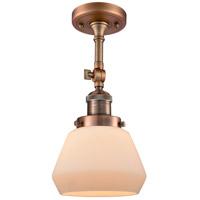 Innovations Lighting 201F-AC-G171-LED Fulton LED 7 inch Antique Copper Semi-Flush Mount Ceiling Light