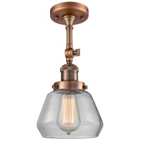 Innovations Lighting 201F-AC-G172-LED Fulton LED 7 inch Antique Copper Semi-Flush Mount Ceiling Light, Franklin Restoration