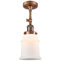 Innovations Lighting 201F-AC-G181-LED Canton LED 6 inch Antique Copper Semi-Flush Mount Ceiling Light Franklin Restoration